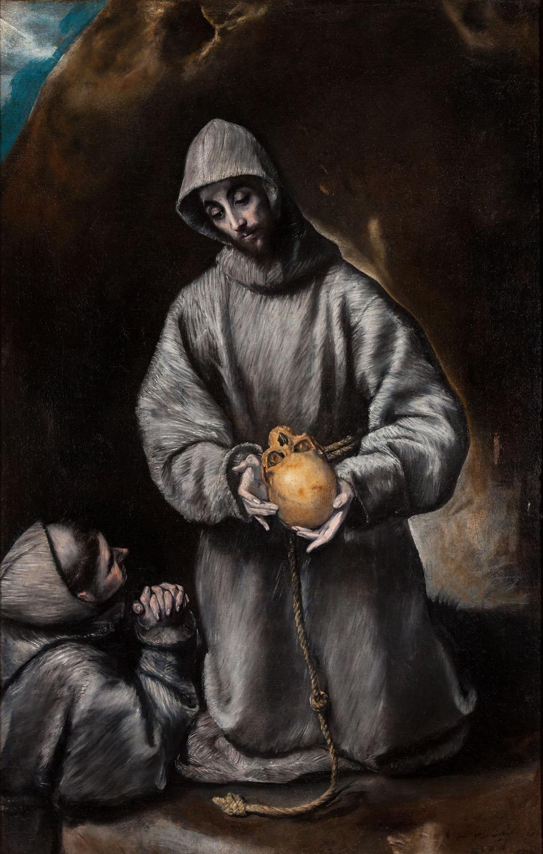 San Francisco y Fr. León meditando sobre la muerte-El Greco